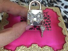Betsey Johnson Silver Crystal Bow Lock & Key Heart Stretch Charm Ring NWT $45