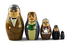 Matryoshka Russian Nesting Doll Babushka Sherlock Holmes Dr. Watson 5 Pc