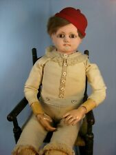 Large Antique Paper Mache Boy Doll Glass Eyes 30.5""
