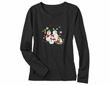 New Erika Tabitha Womens Christmas Shirt Snowman Family Embroidered Size L