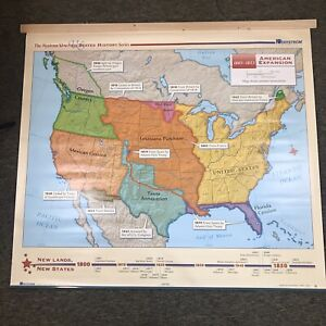 Nystrom US History Map School Wall Hanger Decor American Expansion Herff Jones