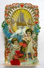 Antique Pull Down Valentine's Day Card Angels Delivering Hearts