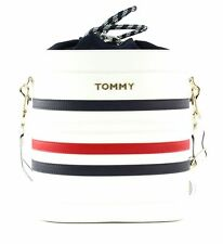 TOMMY HILFIGER Item Staple Bucket Umhängetasche Tasche Corporate Weiß Rot Neu