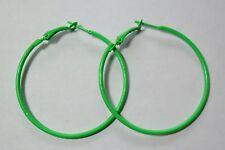 Bijou fantaisie : boucles d'oreille créoles vert fluo , Diam  5 cm
