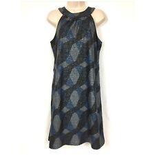 Elie Tahari Dress 6 Metallic Black Blue Gray Geo Print Stretch Holiday Cocktail