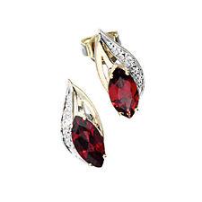 Damen Ohrstecker 585 Gold Gelbgold 2 Diamanten Brillanten 2 Granate rot Ohrringe