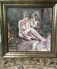 "Rare neuf superbes originales gordon king ""repos"" nude girl woman lady peinture à l'huile"