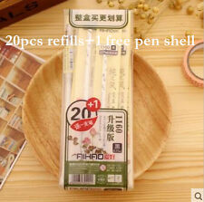 20pcs(+1 free pen shell)0.35mm Rollerball Pens/Gel Ink Pens Refills,Black Ink