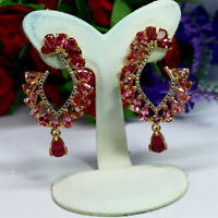 NATURAL PINK TOURMALINE EARRINGS 925 STERLING SILVER