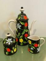 Bergdorf Goodman Exclusive Vtg Coffee Pot 5 Pc Set Italian Pottery Strawberry