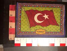 Vtg Large Color Version 2 Antique Cigar Box Tobacco Flannel Felt Turkey Flag 99M