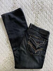 Affliction Black Premium Men's Jeans Size 38X34 Cooper Boot Cut / Flaps
