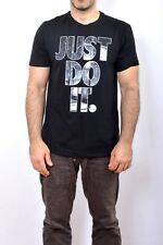 NIKE JUST DO IT SWOOSH BLACK T SHIRT L Athletic CUT