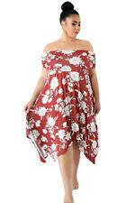 Burgundy Floral Print Off Shoulder Curvy Dress Size16-26