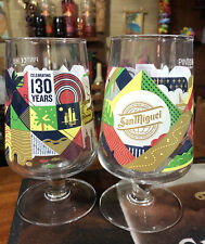 More details for 2x san miguel 2020 limited edition chalice pint glasses celebrating 130 years.