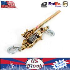 Us 2 Hooks Cable Hd Hoist Ratchet 2 Ton Hand Lever Puller Come Along 4400Lb