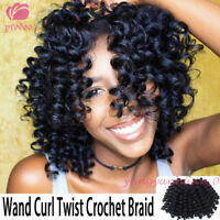 "8"" Jumpy Bounce Wand Curl Hair Crochet Braids Synthetic Hair Extensions Black"