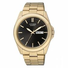Mens Citizen Quartz Gold Tone Stainless Black Dial Day and Date Watch BF0582-51F