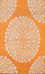 Medallion Hand-knotted Wool/ Silk Orange/ Light Blue Oriental Area Rug 5x7 Foyer