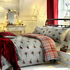 Robin Check Duvet Set Brushed Cotton Red. Double or King Size
