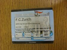 04/11/1999 Ticket: Newcastle United v Zurich [UEFA Cup] (Creased, Folded). Trust