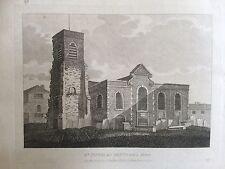 1809 antica stampa; Chiesa di San Nicola, Deptford, se London