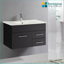 Bathroom Vanity Black Wall Hung Ceramic Basin 900 NEW Vanities High Gloss