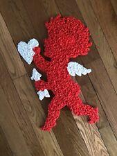 "Vintage Melted Plastic Popcorn Cupid Valentine's Day Decoration 21"""