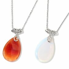 Enhanced Red Agate, Opalite Silvertone Set of 2 Pendant W/Stainless Steel Chain
