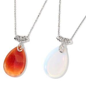 Enhanced Red Agate, Opalite Silvertone 2 Pendant W/Stain Steel Chain  #JN1004