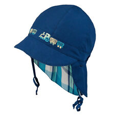 Tie up 100 Cotton Hat With UV 30 Sun Protection Spring Summer Baby Boys 3-003092-navy Blue 8 Months-2 Years