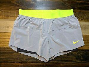 Nike Dri-Fit  Women'sGray Black/Neon/Yellow Double Layered Running Shorts Size M