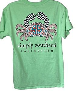 Simply Southern small t shirt lime green pink navy blue crab preppy SPRING color