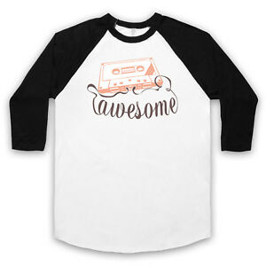 CASSETTE TAPE AWESOME TEXT RETRO VINTAGE COOL MUSIC UNISEX 3/4 BASEBALL TEE