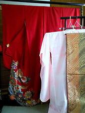 "Japanese kimono ""FURISODE"" long Sleeves  with OBI & Juban, a set of three…363"