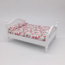 Miniature Dollhouse Bedspread Comforter  2 Pillows 1:12 scale IRIS  #C03