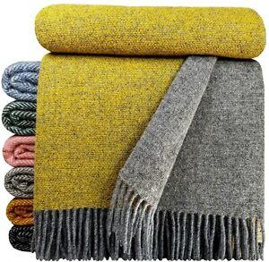 Wolldecke 100% Schurwolle Wohndecke Plaid Decke 140 x 200 cm Farben
