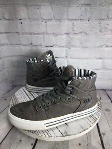 Supra Skytop Mens 7 High Top Gray White Skateboard Sneakers Denim 08204-034-M
