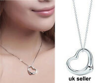 Heart Pendant  Silver Plated Necklace Chain Jewellery Set Ladies Gift Fashion uk
