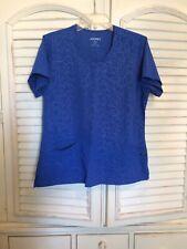 Women's Jockey Dark Blue w/ Scribble pattern Scrub Top Size Medium