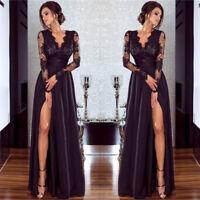 Women Lace Long Sleeve Black Maxi Dress Party Prom Ball Cocktail Elegant Dresses