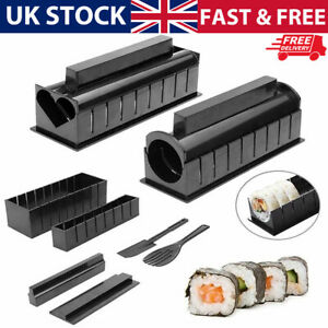 DIY Kitchen Sushi Maker Mould Tool Sushi Making Kit Rice Roller Plastic 10pc/set