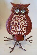 Orange Metal Owl Votive Candle Halloween Trick Treat Decoration Fall Autumn