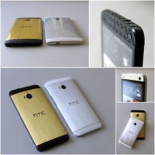 For HTC ONE M7 Brushed Metal GOLD SILVER CARBON FULL BODY Vinyl Sticker Skin