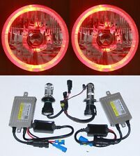 55W HID Hi/Lo Beam Round Headlight RED LED Halo for Ford F100 F150 F250 F350