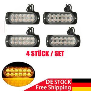 4x Auto LED Frontblitzer Warnleuchten Blitzlicht LKW Strobe Licht 12 / 24V Gelb