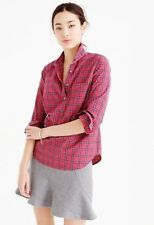 J Crew Women's Size 0 Red Tartan Popover Shirt Plaid Casual
