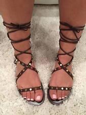 NIB Valentino Rockstud Brown Bead Strap Gladiator Ankle Flat Sandal 40 $1495