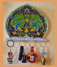 white metal meenakari key holder, wall mounted key organizer with 4 hooks India
