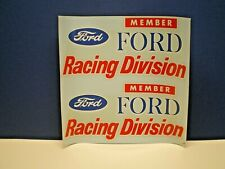 ORIGINAL VINTAGE  WATER DECAL FORD RACING DIVISON NOS from the 60's